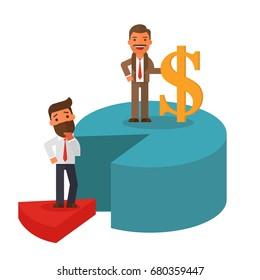Businessman standing over pie chart