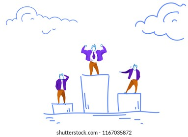 Businessman standing podium business competition first place concept leader victory successful working strategy sketch doodle horizontal vector illustration