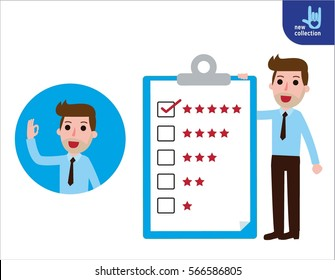 Businessman standing  presentation quality billboard. Vector flat cartoon character icon design.