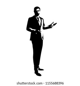 Businessman standing  and presenting ideas, isolated vector silhouette. Abstract ink drawing od man in suit. Business people, front view