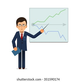 Businessman standing with progress chart graph at presentation