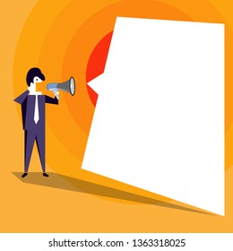 Businessman Standing and Shouting on Megaphone with Blank Speech Bubble. Man in Suit Holding Loudhailer with Empty Uneven Text Balloon. Backdrop Idea for Advisory and Announcement.