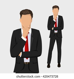 Businessman standing, thinking. Full length portraits of Elegant, handsome man in suit isolated on white background. Flat design. Vector cartoon illustration