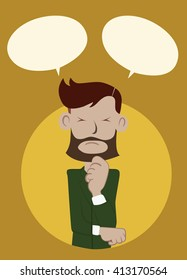 Businessman standing and thinking.get idea in think bubble