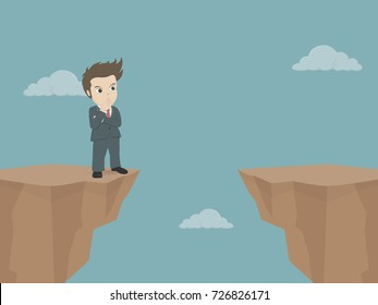Businessman standing and thinking on cliff.Business cartoon vector illustration of business plan and leadership.