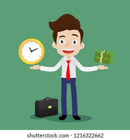 Businessman is standing and trying to keep a balance between time and money, Cartoon vector illustration