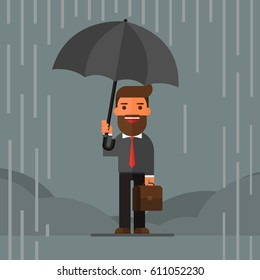 Businessman standing with umbrella in rain.