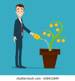 A businessman is standing and watering a money tree from a golden watering can. Plant with gold coins
