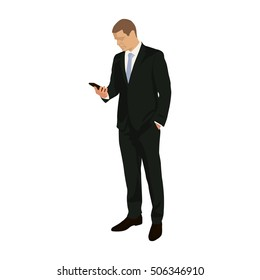 Businessman stands and holds mobile phone in hand. Standing man in suit with cell phone, vector illustration