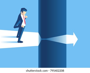 Businessman stands on the edge of gap and arrow passes through it. Employee cant continue to move forward because of obstacles. Business concept challenge risk, or obstacle vector illustration.