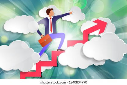 businessman stands on growing up Arrow and points forward in direction of movement among white paper clouds on beautiful spring green sunny rays light background