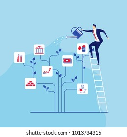 Businessman stands on stairs steps watering money tree. Concept of investment and increasing financial growth. Cartoon Vector Illustration.