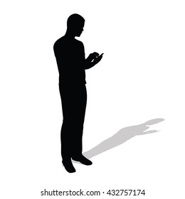 Businessman stands and reads message on his telephone. Vector silhouette of man with cell phone. Standing young boy with shadow silhouette