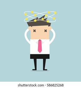 Businessman with stars spinning around his head. vector