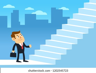 Businessman start walking up stairway first step, Employee ready to climb up the staircases, Development business concept growth and the path to successful, Cartoon flat design vector illustration