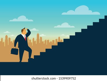 Businessman start walking up stairway, First step climbing staircases for development,  Business journey concept growth and the path to future success, Flat design vector illustration