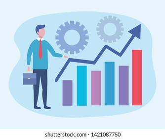 businessman with statistics bar information and gears