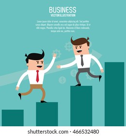 Businessman steps bars man male cartoon business icon. Colorfull and flat illustration. Vector graphic