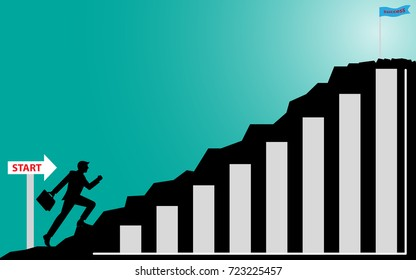 Businessman steps up to successful, Silhouette businessman on mountain, Illustration vector business concept
