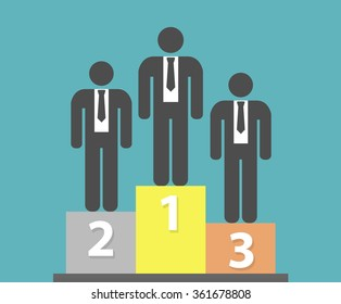 Businessman stickfigures standing on podium. Business competition concept