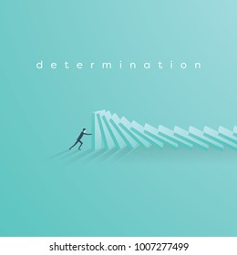Businessman stopping falling domino vector concept. Symbol of crisis, risk, management, leadership and determination. Eps10 vector illustration.
