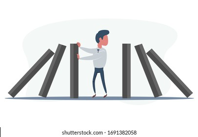 Businessman stopping falling domino vector concept. Symbol of crisis, risk, management, leadership and determination. vector illustration.