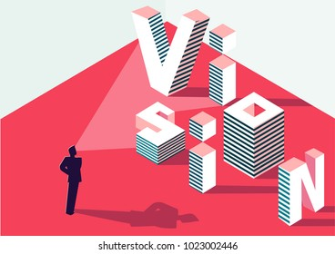 Businessman with strategic vision. Concept with isometric 3D sign