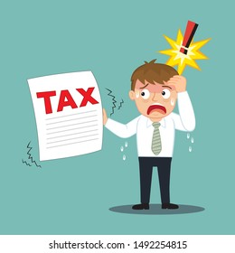 Businessman are stressed getting tax documents, illustration vector cartoon