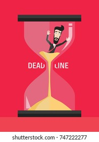 Businessman Struggling with the Deadline. Lack of Time. Man Stuck in Quicksand. An Alarmed Worker inside Hourglass Rushing to Finish the Project. Vector Art Design Illustration.