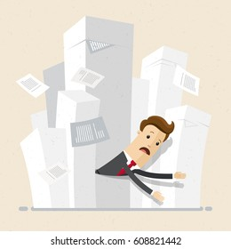 Businessman stuck in piles of papers. Business concept - work with documentation, workflow, bureaucracy. Vector, illustration, flat