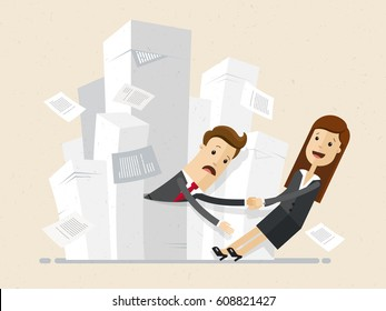 Businessman stucks in piles of papers and woman drags him out. Business concept - work with documentation, workflow, bureaucracy. Vector, illustration, flat