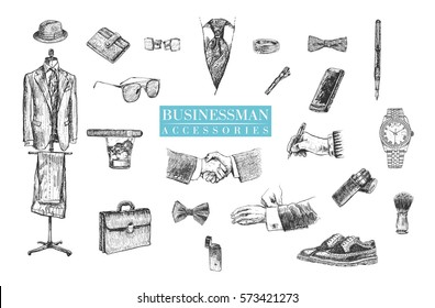 Businessman stuff and accessories hand drawn set. Suit, briefcase, cufflinks, pouch, tie, ring, tie clip, sunglasses, bow-tie, fountain pen, wristwatch, smartphone, brogues, cigars, fedora hat
