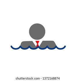 businessman submerged under water. Illustration design over a white background