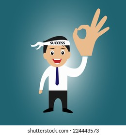 Businessman with success head band and ok sign