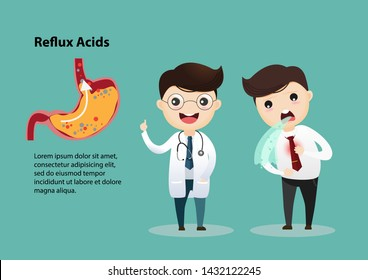 Businessman suffering from stomach painful or Acid Reflux or Heartburn, Gas, Bloating, Belching and flatulence. vector, illustration