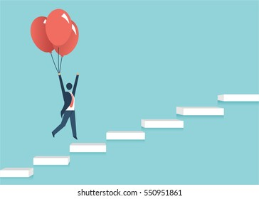Businessman in a suit flying a balloon over ladder, blue background, concept of success and career growth. vector design cartoon.