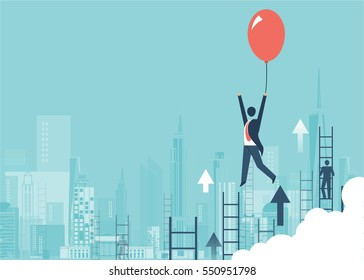 Businessman in a suit flying happily holding a balloon on city, men climbing ladders, concept of success and career growth vector design cartoon.