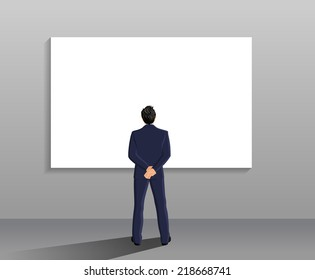 Businessman in suit full length back view in front of white board vector illustration