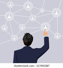 Businessman in suit half length back view hand touch screen social net concept vector illustration
