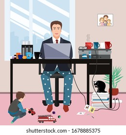 Businessman in a suit jacket and pajama bottoms working from home using laptop computer and his little son playing on the floor. Covid or coronavirus quarantine concept, self isolation. Vector flat st