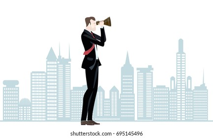 Businessman in suit looking through the telescope in the City. Business concept collection.