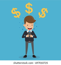 Businessman in Suit with Mobile Phone and Dollar Sign. Business and Finance Concept, Vector Illustration Flat Style.