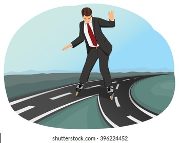 Businessman in suit on roller skates has to choose between two paths. Business crossroad. Strategic planning.