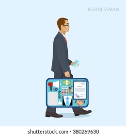 Businessman in a suit with an open suitcase, vector illustration