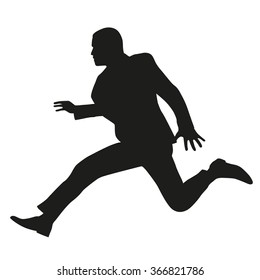 Businessman in suit running, jumping. Vector silhouette