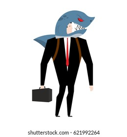 Businessman in suit of shark. Allegory of business shark. Business concept