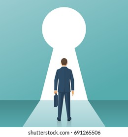 Businessman in suit standing in front of keyhole. Solution to problem business concept. Man looks at open opportunities. Male walking go to goal. Vector illustration flat design. Isolated background.