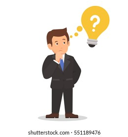 Businessman in a suit thinking concept question mark in the light bulb cartoon vector