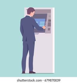 Businessman in suit using ATM. Vector illustration