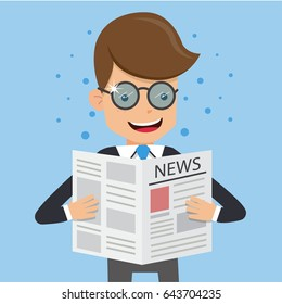 Businessman in Suit Wear Glasses and Read Newspaper. Concept business vector illustration Flat Style.
